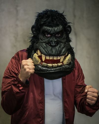 Gorilla Surreal Boxing Boxer Portrait Kong One Person Disguise Mask - Disguise Mask Indoors  Portrait Front View Halloween Looking At Camera Adult Waist Up Facial Hair Ape Costume Spooky Bizarre Men Beard Celebration Evil