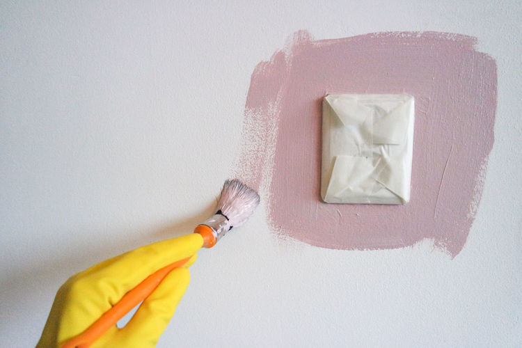 Indoors  Wall - Building Feature White Color No People Close-up Copy Space Yellow White Background Hygiene Paint Roller Studio Shot Holding Protection Freshness Painting Pink Color Color Pink Brush