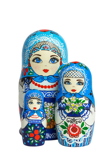 Matryoshka, blue, 3 composite Blue Cultures Day Doll Eye Folk Art  Folk Craft Folklore Isolated Isolated White Background Matryoshka Matryoshka Doll Nested Doll Nesting Dolls Object Objects Russia Russian Dolls Sight White Background