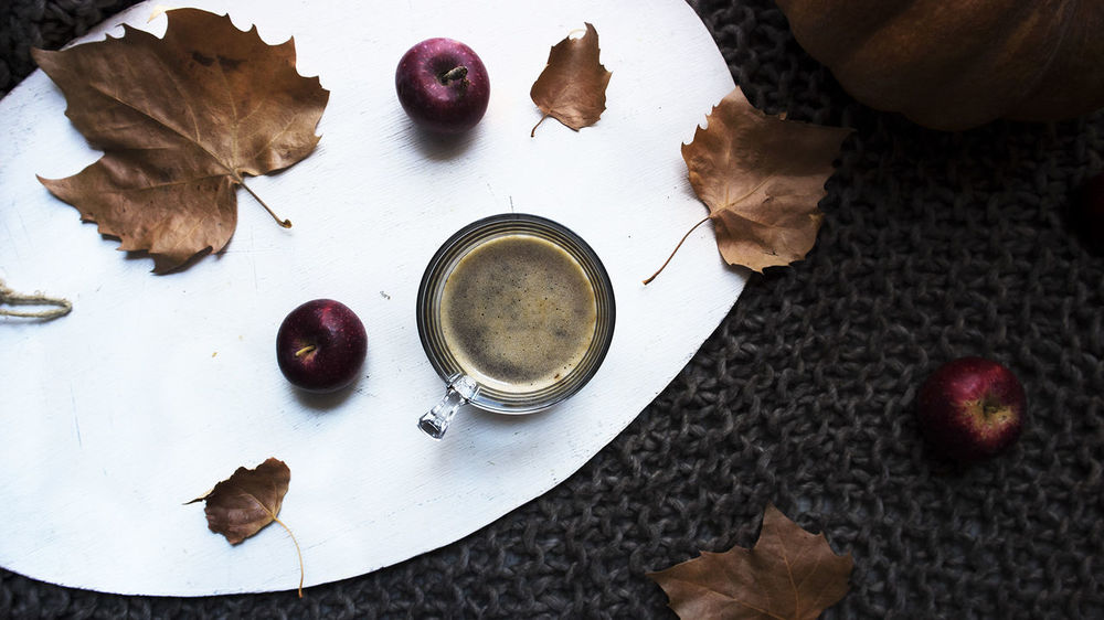 Lazy morning <3 Autumn Breakfast Coffee Home Is Where The Art Is Breathe Close-up Cozy Day Drink Flatlay Food Food And Drink Freshness Fruit Healthy Eating High Angle View Indoors  Leaf No People No Stress Ready-to-eat Simplicity Slow Life Table