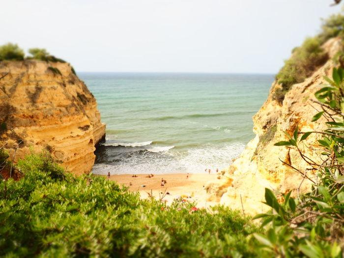 Sneak to the beach Algarve, Portugal Beach Seascape Praia Da Marinha Olympus Olympus Om-d E-m10 Algarve Sea Water Beach Sand Wave Rock - Object Sky Horizon Over Water Grass Rock Formation Coastline Sand Dune Coastal Feature