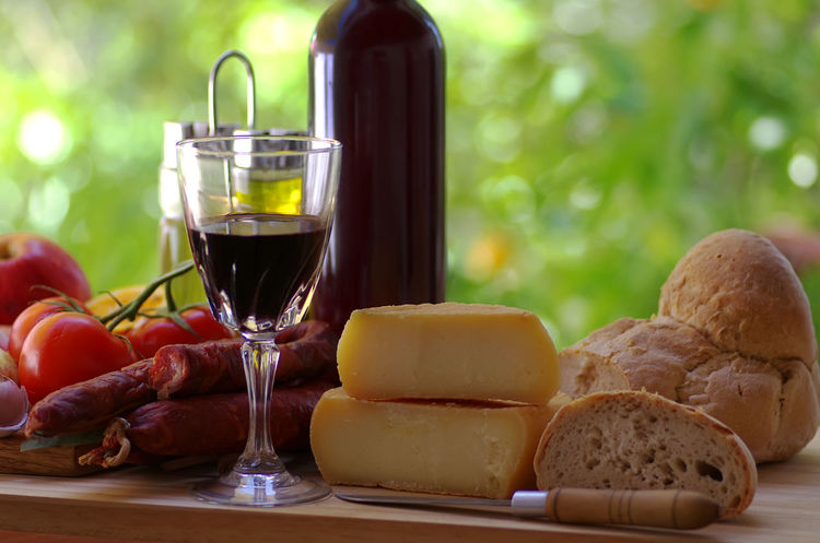cheese,bread, pork meat and fresh vegetables Bread Cheese Close-up Drink Food Food And Drink Freshness Glass Healthy Eating Red Wine Refreshment Still Life Table Wine Wineglass