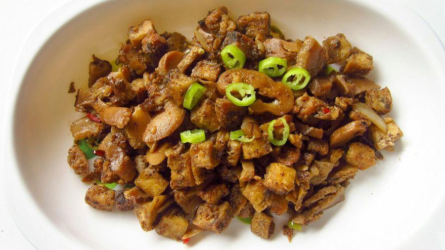 Vegan Dish Tofu Mushrooms Chillies Food Sisig