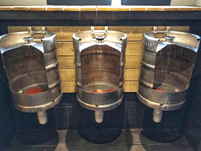 Beer Kegs Toilet Urinals Side By Side No People High Angle View Arrangement Day Indoors