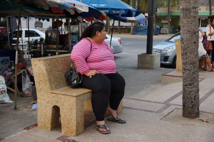 Asian Girl Asian Woman Casual Clothing Obese Woman Onesity Outdoors Sitting Sitting Pretty Thai Food That's Me