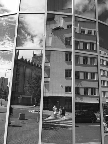 City Layers In Tiled Mirror - Gdynia 4 August 2016 ( IPhone 6+ ) Architecture Bnw Bnw_captures Bnw_collection Bnw_life Bnw_planet Bnw_society Bnw_worldwide Built Structure City Life EyeEm Best Edits EyeEm Best Shots EyeEmBestPics Gdynia Master_shots Masterpiece Men Modern Modern Architecture Office Building Poland Reflected Glory Reflection Reflection_collection Walking