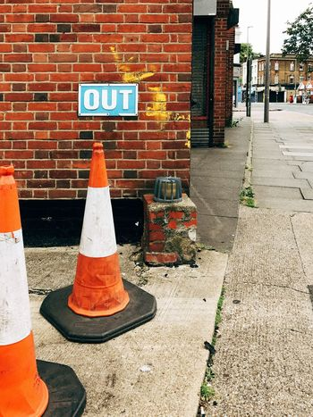 No way in Shot On IPhone VSCO Architecture Building Exterior Built Structure Day IPhoneography Mobilephotography No People Orange Color Outdoors Road Sign Traffic Cone Vscocam