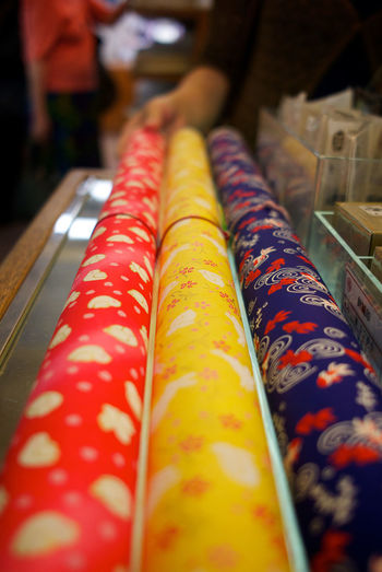 colourful Japanese wash paper with printed pattern. ASIA Colourful Handprint Japanese Paper Washi Paper Arrangement Choice Close-up Cultures For Sale In A Row Indulgence Multi Colored No People Pattern Patterns Retail  Rolls Selective Focus Shop Still Life Store Temptation Traditional Variation