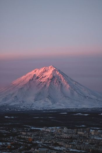 Sunset with home volcanoes of Kamchatka Russia Nature Дальний восток Sanset Russia Природа России Sunset Beauty In Nature Sky Scenics - Nature Mountain Landscape Snow My Best Photo