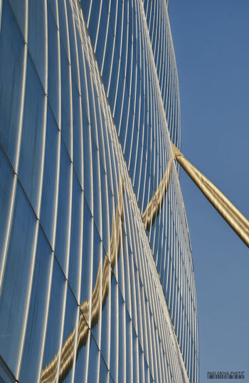 Alloy Architecture Blue Bridge Building Exterior Built Structure City Clear Sky Connection Day Low Angle View Metal Modern Nature No People Office Building Exterior Outdoors Pattern Sky Steel Sunlight