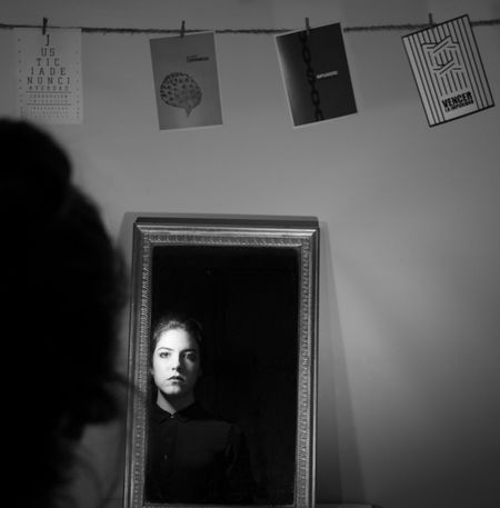 What have we done?... Back Grayscale Looking At Camera Reflection Blackandwhite Day Impunity Indoors  Justice Light And Shadow Lowkey  Mirror One Person People Portrait Real People Shadow Young Adult Young Women