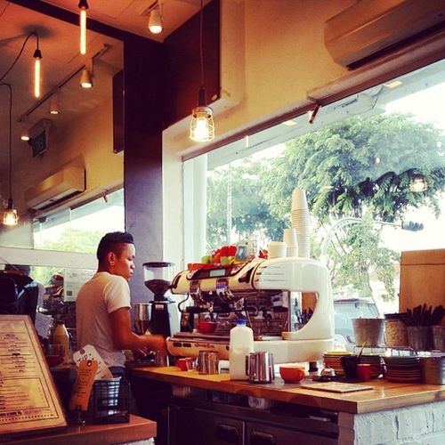 Like the sound of brewing coffee. Habitatcafe