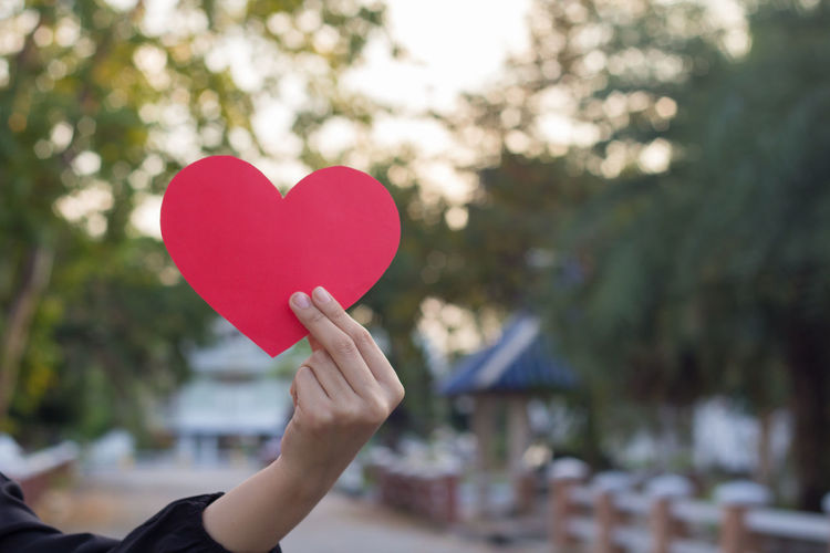 Close-Up Of Hand Holding Heart Shape Paper Against Trees