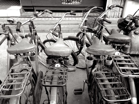 Delhi India Absence Abundance Arrangement Bicycle Black And White Close-up Day In A Row Indoors  Land Vehicle Large Group Of Objects Metal Mode Of Transportation Monochrome No People Repetition Retro Bike Retro Styled Seat Side By Side Stationary Transportation