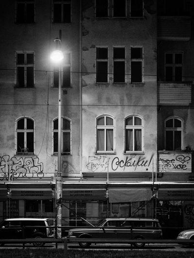 Berlin Building Cars City Dark Dark Windows Everything's Sleeping Graffiti Lamp Post Night No People Old Transportation Urban Window