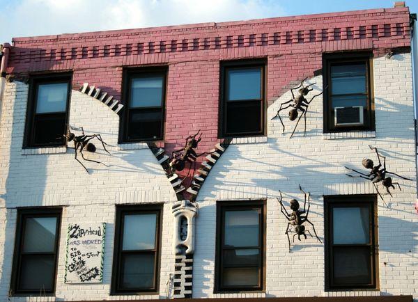 Zipperhead South Street Philadelphia Pennsylvania Brick Wall Sky Looking Up Ants ArtWork City From The Archives Zipper No Edit/no Filter Building Building Exterior