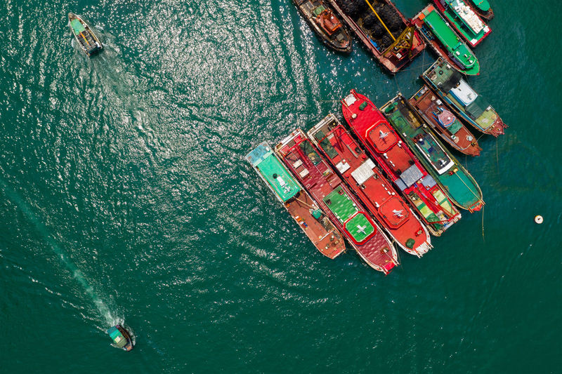 Directly above shot of ships in sea