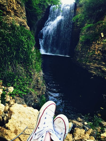 My second home Out Of The Box Shoe Personal Perspective Waterfall Day River Outdoors Scenics Nature Beauty In Nature Eyemphotography EyeEm Nature Lover Adventure Happy Peace Tranquility Beauty In Nature Tree Water Beauty Nature Wanderlust Travel Cliff Shoes
