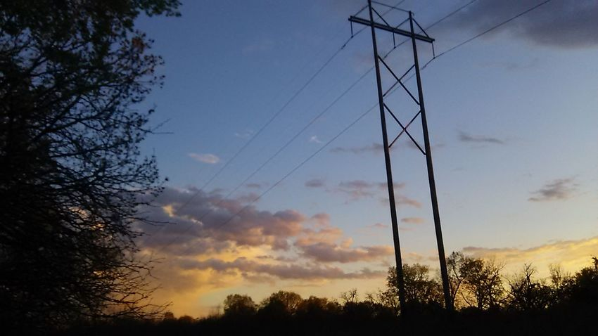 Chouteau Oklahome Silhouette Sunset Outdoors Power Line  Nature Tree Sky Power Supply Lost In The Landscape