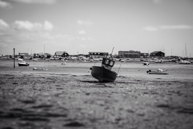Boats resting at low tide B&W Tilt Shift. Langstone Harbour  Boats Low Tide B&w Tilt-shift Harbour Harbour View