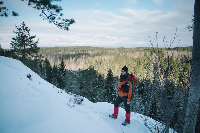Adventure Beauty In Nature Cold Cold Temperature Day Field Finland Helsinki Hiking Leisure Activity Lifestyles Nationalpark Nature Nuuksio One Person Outdoors Real People Rear View Scenics Sky Snow Tree Warm Clothing Winter Winter
