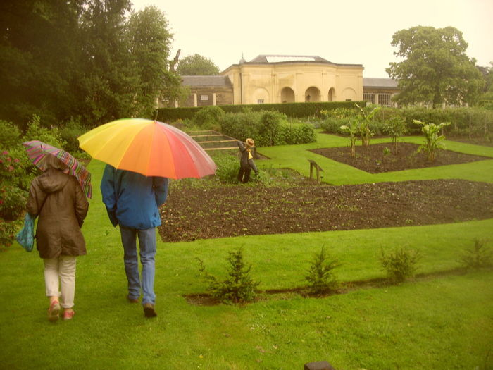 Stately Home Nostell Priory NostellPriory National Trust House & Garden Summertime Day Looks Like Rain Outdoors Rear View Two People Umbrella Rain Walking