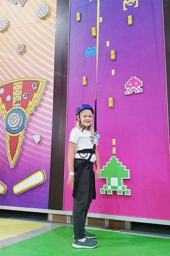 Doing some sport Blonde Sporting Climbing Wall Inside Fun Sagunto SPAIN Sport Climbing Child Full Length Childhood Multi Colored Standing Portrait Pink Color Looking At Camera This Is Strength