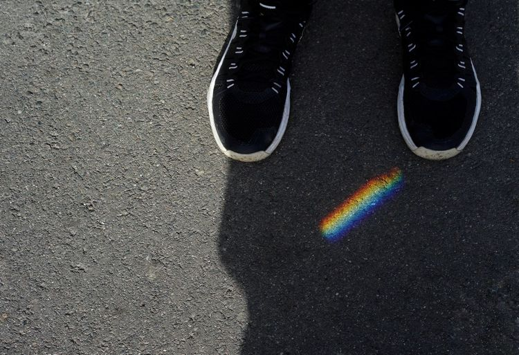Rainbow Rainbow Colors High Angle View One Person Shoes Minimalism Minimal Shadow