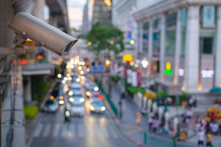 Close-up of illuminated city street