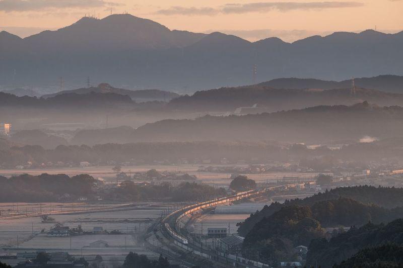 Transportation Mountain Outdoors Fog Sky Japan Shinkansen