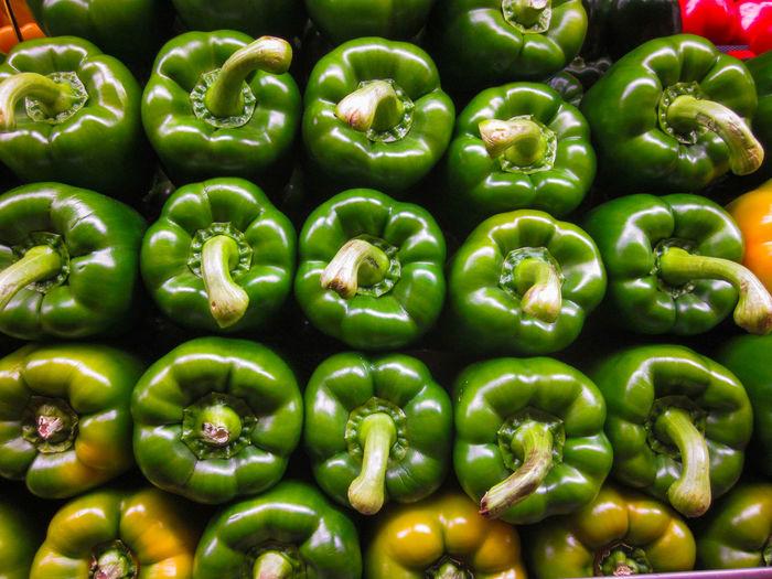 Full frame shot of bell peppers in market for sale