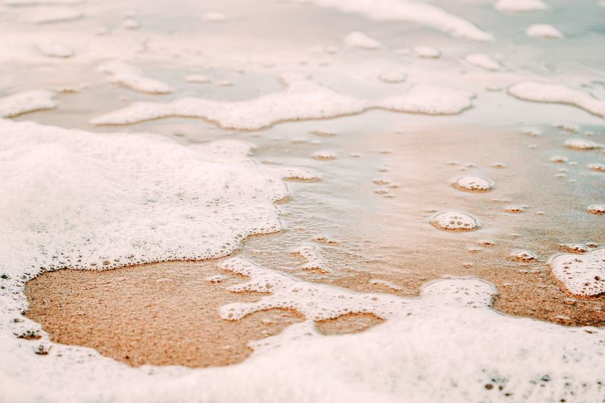 Sand Ocean Close-up Foam Seafoam Shallows Water Low Tide Peace Calm Relaxed Cool Tones Cool EyeEm Selects Sand Beach No People Day Outdoors Water Nature