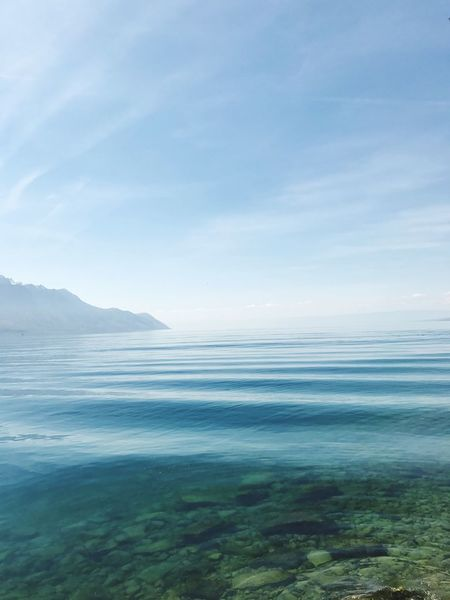 Beauty In Nature Nature Water Tranquil Scene Scenics No People Tranquility Outdoors Sea Day Sky Landscape Cloud - Sky Switzerland Swiss Lake View EyeEm Best Shots Eye4photography  EyeEm Gallery Tranquility Mountain Range First Eyeem Photo Fragility Wave Waves