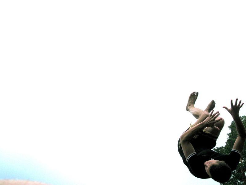 Jump Jumping Forest Clean Background Trick  Backflip Man Sportsmen Twist Russia Siberia