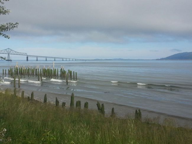 Astoria-megler Bridge Beach Sea Landscape Tranquil Scene Tranquility Environment Atmospheric Mood Nature Cloud - Sky Astoria, OR Astoria, Oregon Columbia River Northcoastrecovery Outdoors Tide Beauty In Nature Majestic Dramatic Sky Tranquility Nature Horizon Over Water Water's Edge
