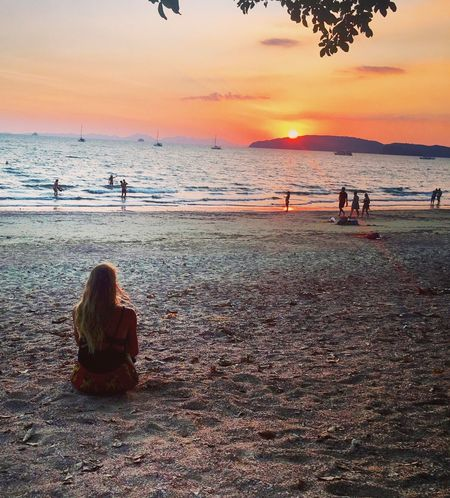 Shoulda Woulda Coulda stayed here all night Ao Nang, Krabi. The Week Of Eyeem The Week On Eyem Horizon Over Water Sunset Sea Beauty In Nature Lifestyles Orange Color EyeEm Best Shots Travel Photography Sunset_collection Sunset And Clouds  Beautiful Thailand Travelwithme Scenics Beach Real People Women Shore EyeEmBestPics Travelingtheworld  SeeTheWorldThroughMyEyes Travel Destinations Long Goodbye Live For The Story