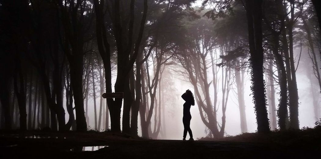 Silhouette woman standing in forest during foggy weather