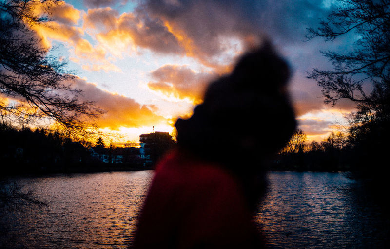 Sunset Sky Water Silhouette Cloud - Sky Tree Lake Beauty In Nature Nature People Outdoors Plant Headshot Scenics - Nature Orange Color Reflection Tranquility Waist Up VSCO Leicam M240 35mm Oldenburg