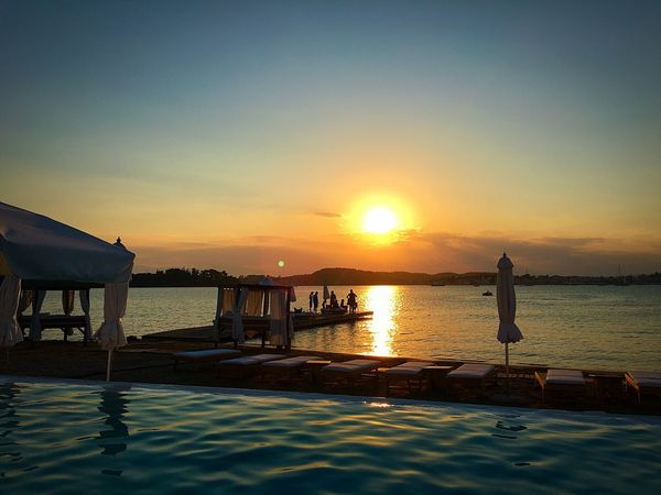Porto Heli Nikky Beach Sunset Tranquility Relaxation Luxury Swimming Pool Sea Outdoors No People Architecture Tranquil Scene Sunset #sun #clouds #skylovers #sky #nature #beautifulinnature #naturalbeauty #photography #landscape