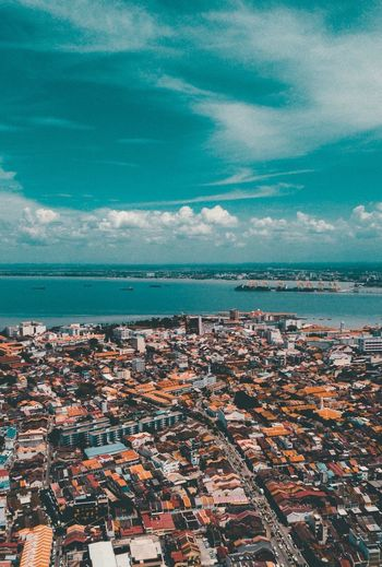 Pulau Pinang , Malaysia . Love our country ! Sea Sky Scenics Water Day No People Architecture Blue Outdoors Cloud - Sky Nature Tranquility Aerial View Building Exterior Horizon Over Water Cityscape Town Built Structure Beauty In Nature Travel Destinations