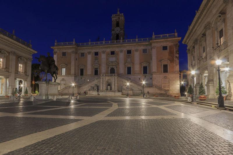 Piazza del Campidoglio on Capitoline Hill with Palazzo Senatorio and Equestrian Statue of Marcus Aurelius, Rome, Italy at night Coliseum Quirinale Rome Viminale Europe Fori Romani Italy Trevi