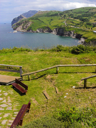 Bench Fence Footpath Grass Green Landscape Laredo Nature Landscape_photography Nature_collection On A Walk Outdoors Scenics SPAIN Summer Sunny Day Tranquil Scene Tranquility Vacation Warm Landscape_Collection Seaside Hillside Flying High
