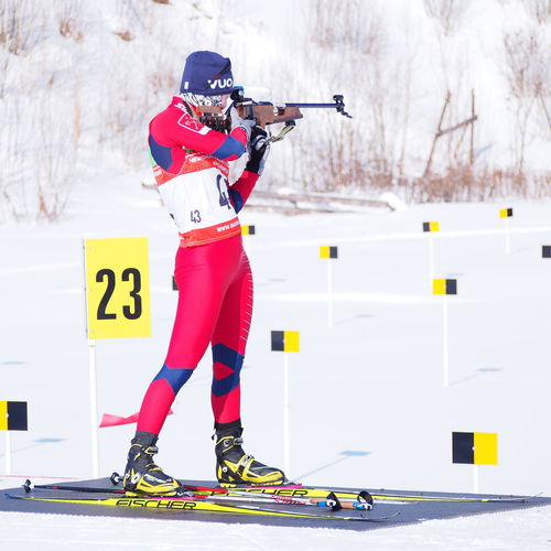 Biathlon Cold Temperature One Girl Only Outdoors Shooting Girl Snow Sport Taking A Shot - Sport Winter Championship Winter Sports