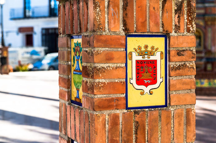 Coat of arms of Vejer de la Frontera, Spain Andaulcia Architecture Brick City Close-up Coat Of Arms Column Costa De La Luz Cádiz, Spain Emblem  Ensign Flag Insignia National No People Outdoors Pillar Plaza De España Region Seal SPAIN Symbol Vejer De La Frontera
