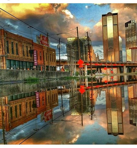 7am in dallas tx. Downtown Dallas Water Reflections Deepellum