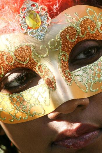 The Portraitist - 2015 EyeEm Awards Mask Orange Mardi Gras Caribbean Carnival Eyes