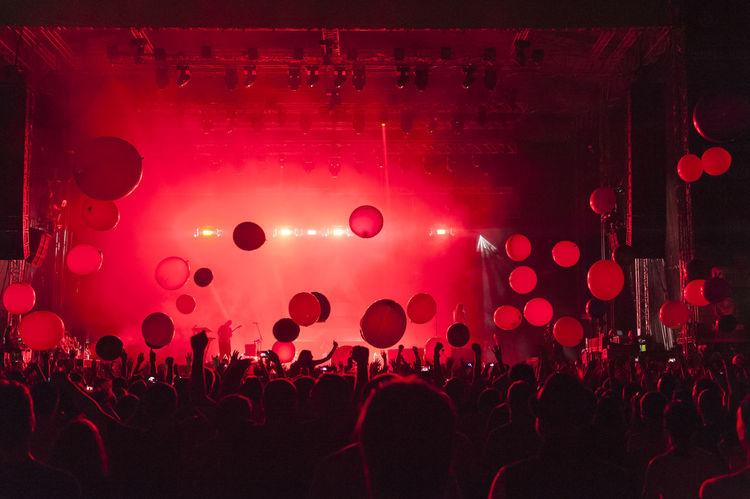 30 seconds of Mars. Balloons Bulgaria Concert Crowd Enjoyment Event Excitement Festival Festival Season Flying Flying Ballons Fun Illuminated Large Group Of People Light Music Music Festival Night Performance Red Sofia Stage - Performance Space Youth Culture