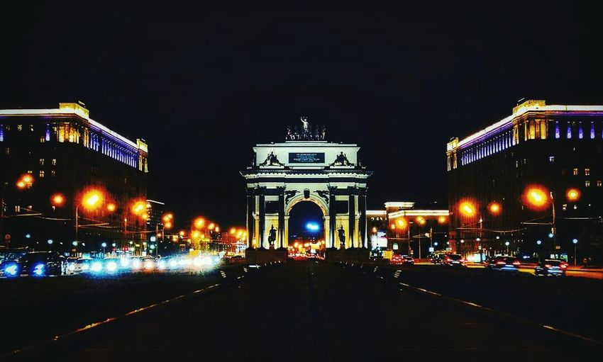 Night Illuminated Travel Destinations Light Trail Architecture Speed City Cityscape History City Gate Nightlife Outdoors Triumphal Arch Politics And Government No People Urban Skyline Sky Architecture Nature City Moscow Cityscape Moscow City Moscowstreets Building Exterior