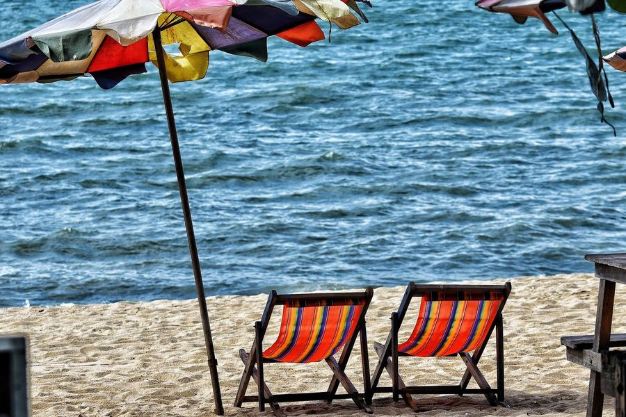 Life's a Beach! Deck Chairs Sea Water Beach Sand No People Lifestyles Leisure Activity
