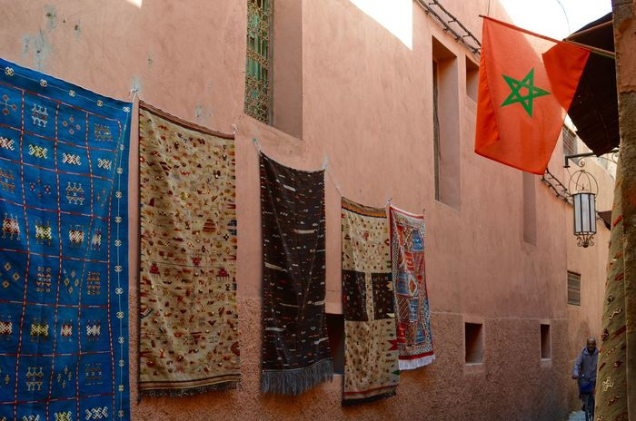 Architecture Building Exterior Carpet Check This Out Cultures Day Design Destination Destinationwedding Figurs Flag In A Row Islam Marrakech Marrakesh Morocco Motives Multi Colored Narrow Street Outdoors Pattern Streetphotography Traveling Travelling Variation